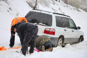 Two people are rescued after becoming stuck in the Piute Mountains Thursday.